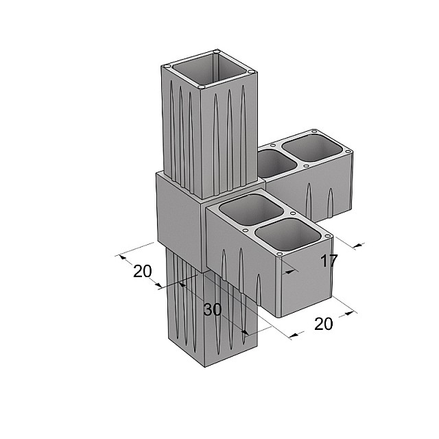 L TYPE 4 WAY CONNECTOR 20x20, GREY